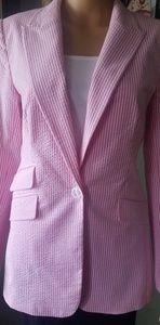 Pink and White Seersucker Blazer